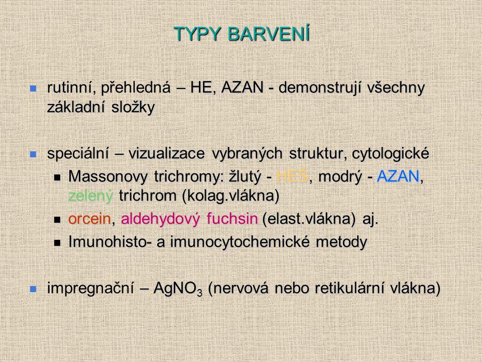 TYPY BARVENÍ rutinní, přehledná – HE, AZAN - demonstrují všechny základní složky. speciální – vizualizace vybraných struktur, cytologické.