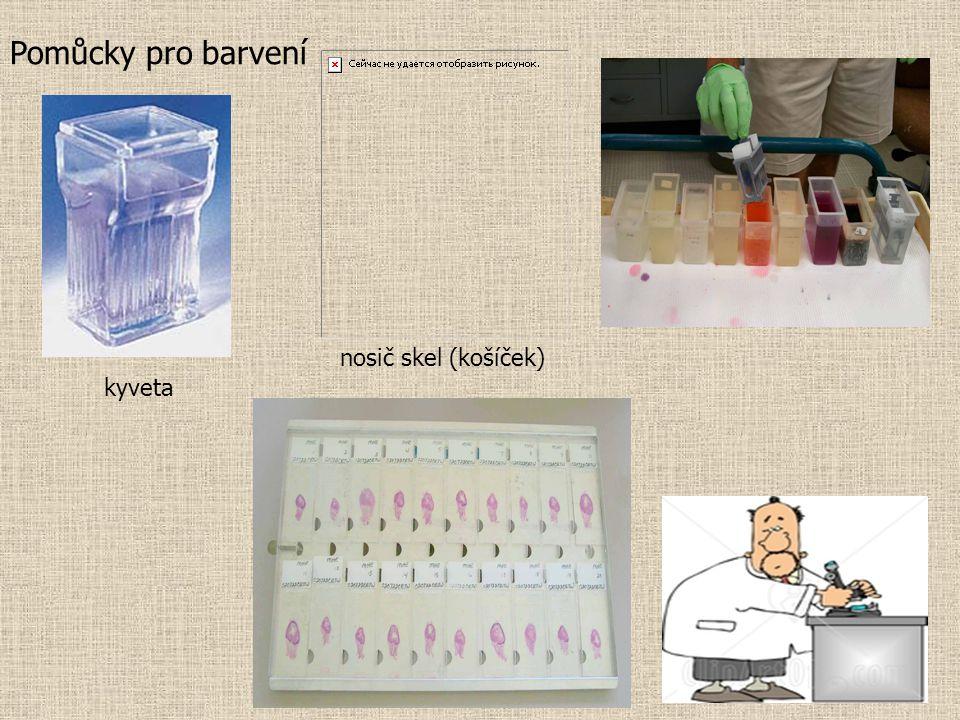 Pomůcky pro barvení nosič skel (košíček) kyveta