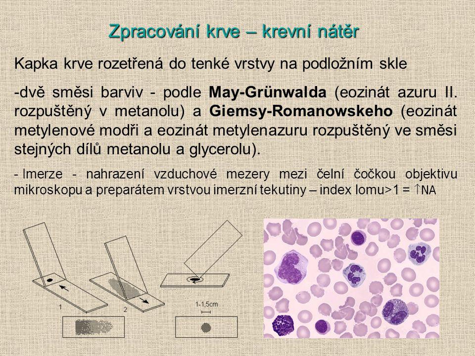 Zpracování krve – krevní nátěr