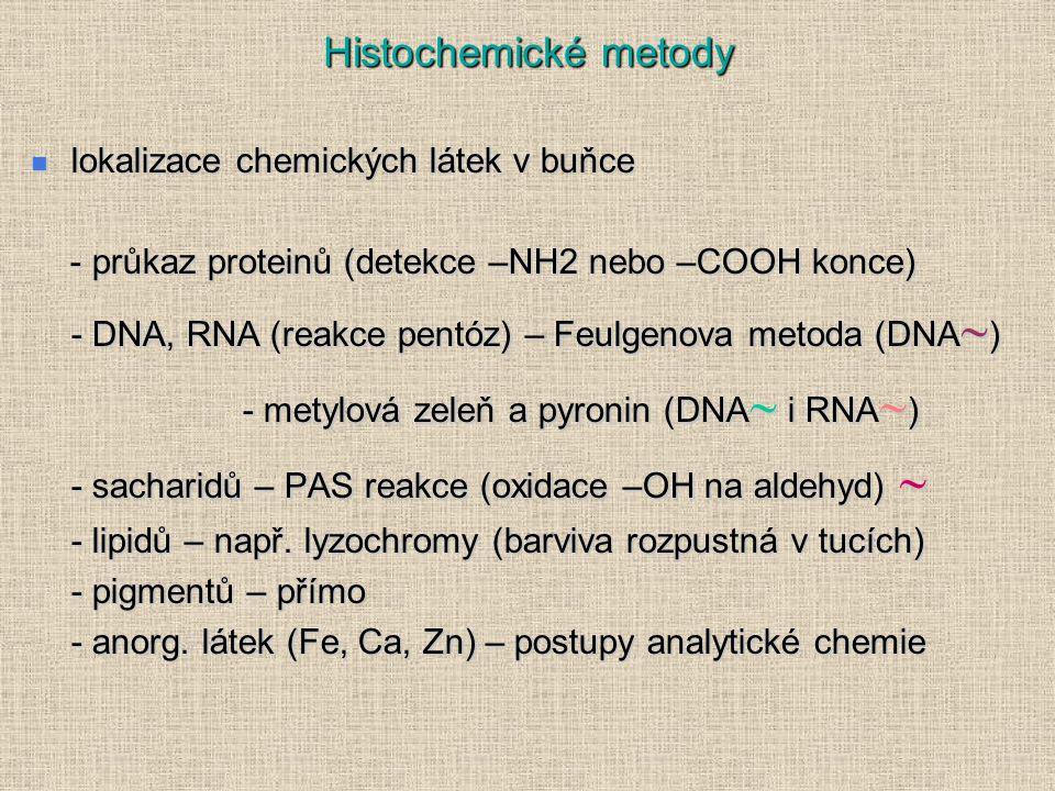 Histochemické metody lokalizace chemických látek v buňce
