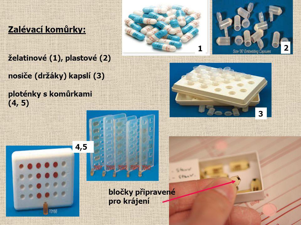 Zalévací komůrky: želatinové (1), plastové (2) 1 2