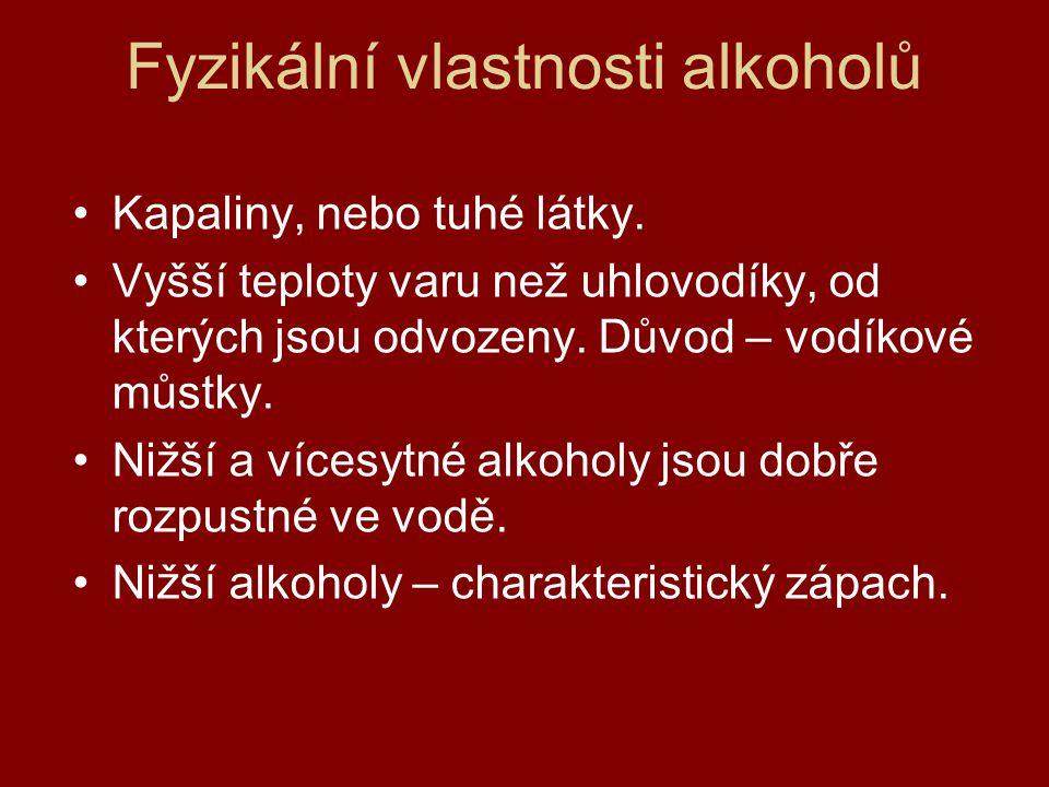 Fyzikální vlastnosti alkoholů