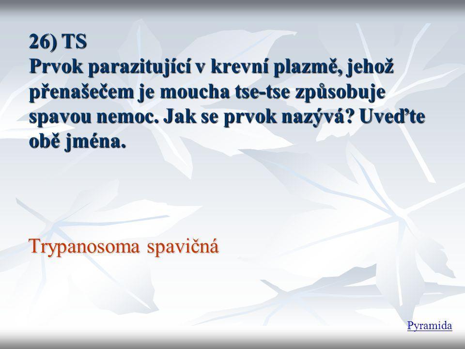 26) TS Prvok parazitující v krevní plazmě, jehož přenašečem je moucha tse-tse způsobuje spavou nemoc. Jak se prvok nazývá Uveďte obě jména.