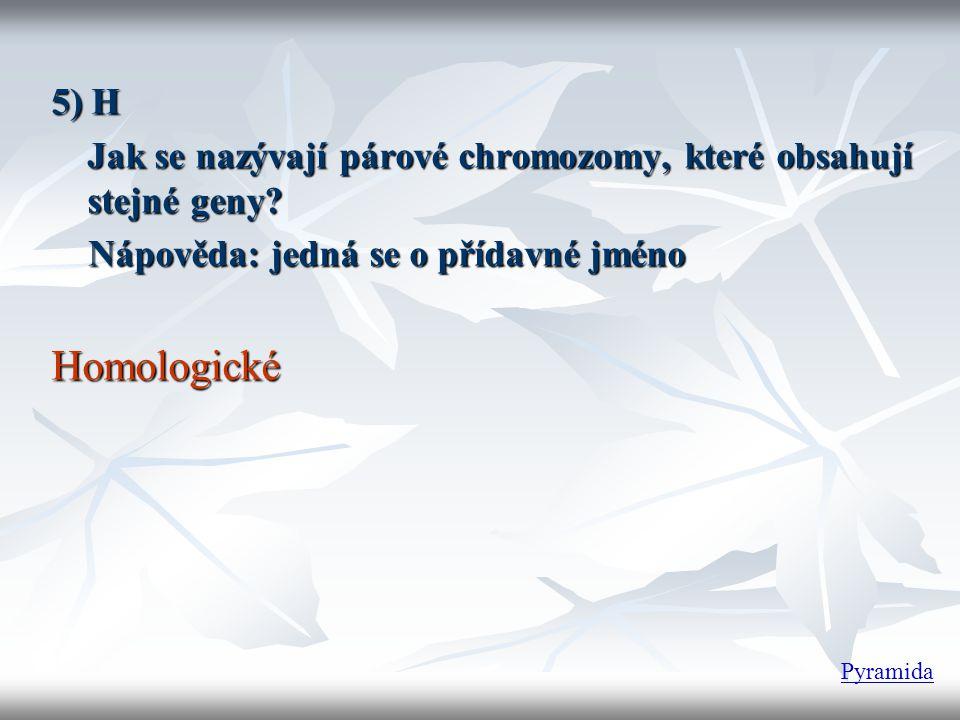 5) H Jak se nazývají párové chromozomy, které obsahují stejné geny Nápověda: jedná se o přídavné jméno.