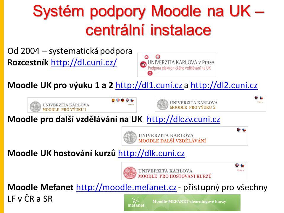 Systém podpory Moodle na UK – centrální instalace