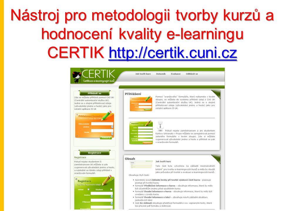 Nástroj pro metodologii tvorby kurzů a hodnocení kvality e-learningu