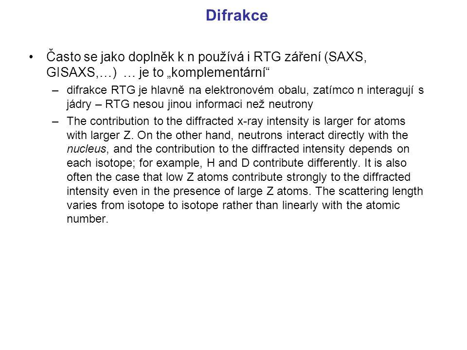 """Difrakce Často se jako doplněk k n používá i RTG záření (SAXS, GISAXS,…) … je to """"komplementární"""