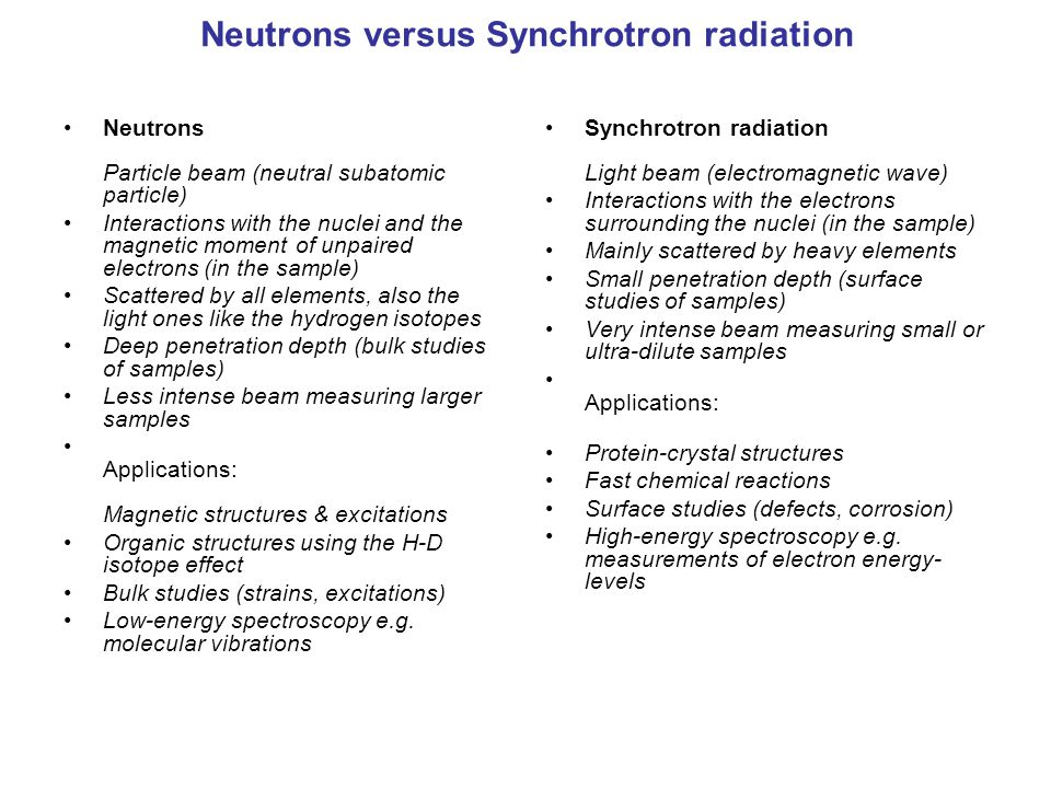 Neutrons versus Synchrotron radiation
