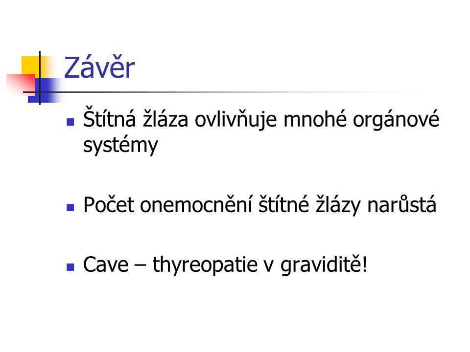 Závěr Štítná žláza ovlivňuje mnohé orgánové systémy