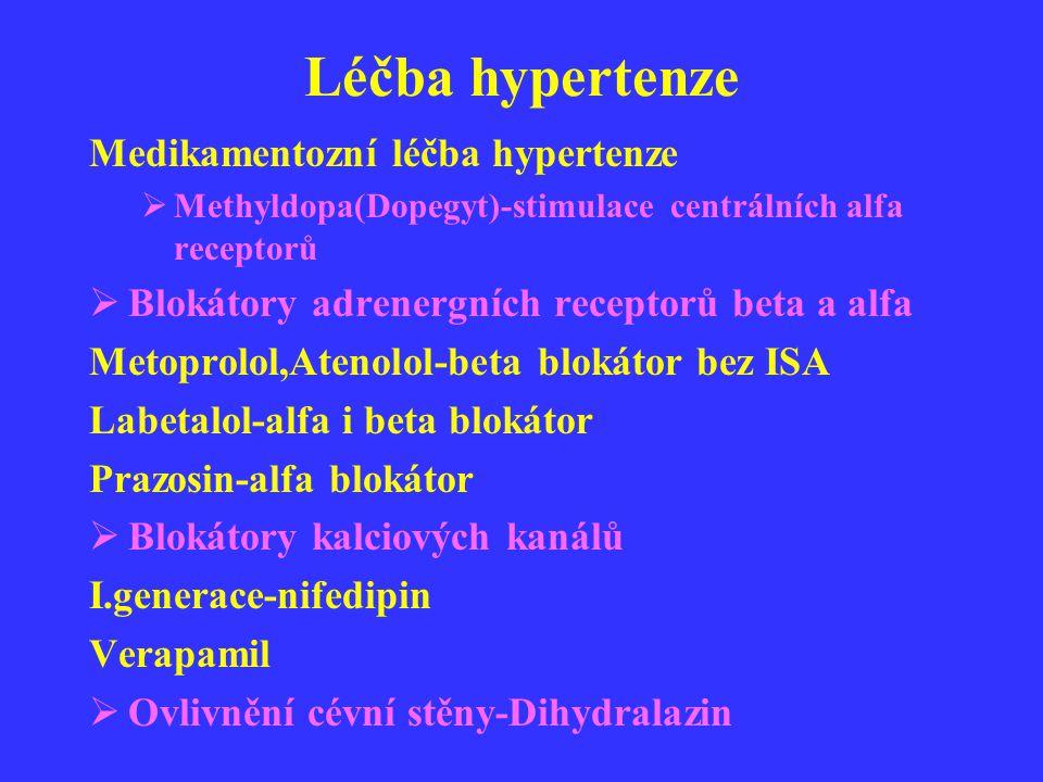 Léčba hypertenze Medikamentozní léčba hypertenze