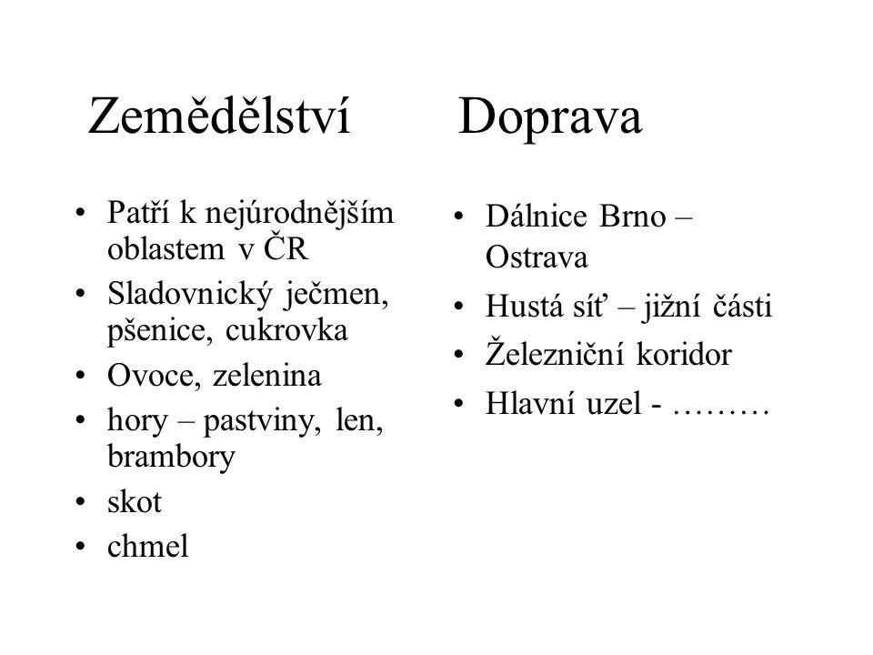 Zemědělství Doprava Patří k nejúrodnějším oblastem v ČR