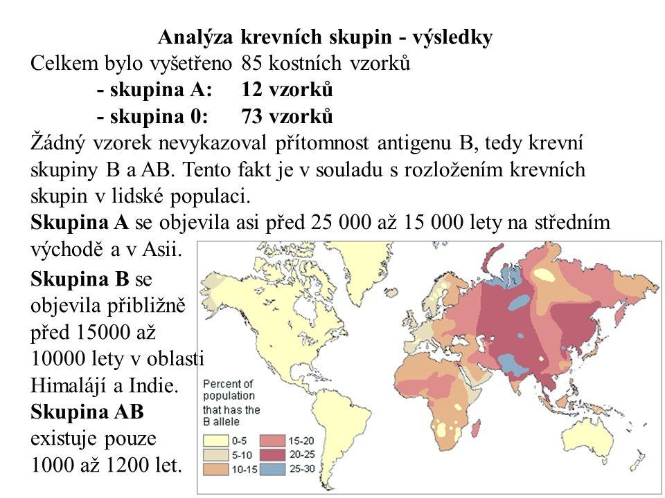 Analýza krevních skupin - výsledky