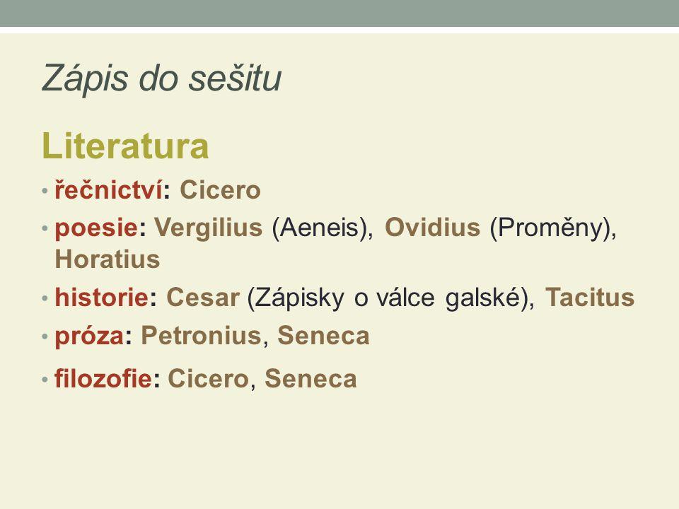 Zápis do sešitu Literatura řečnictví: Cicero
