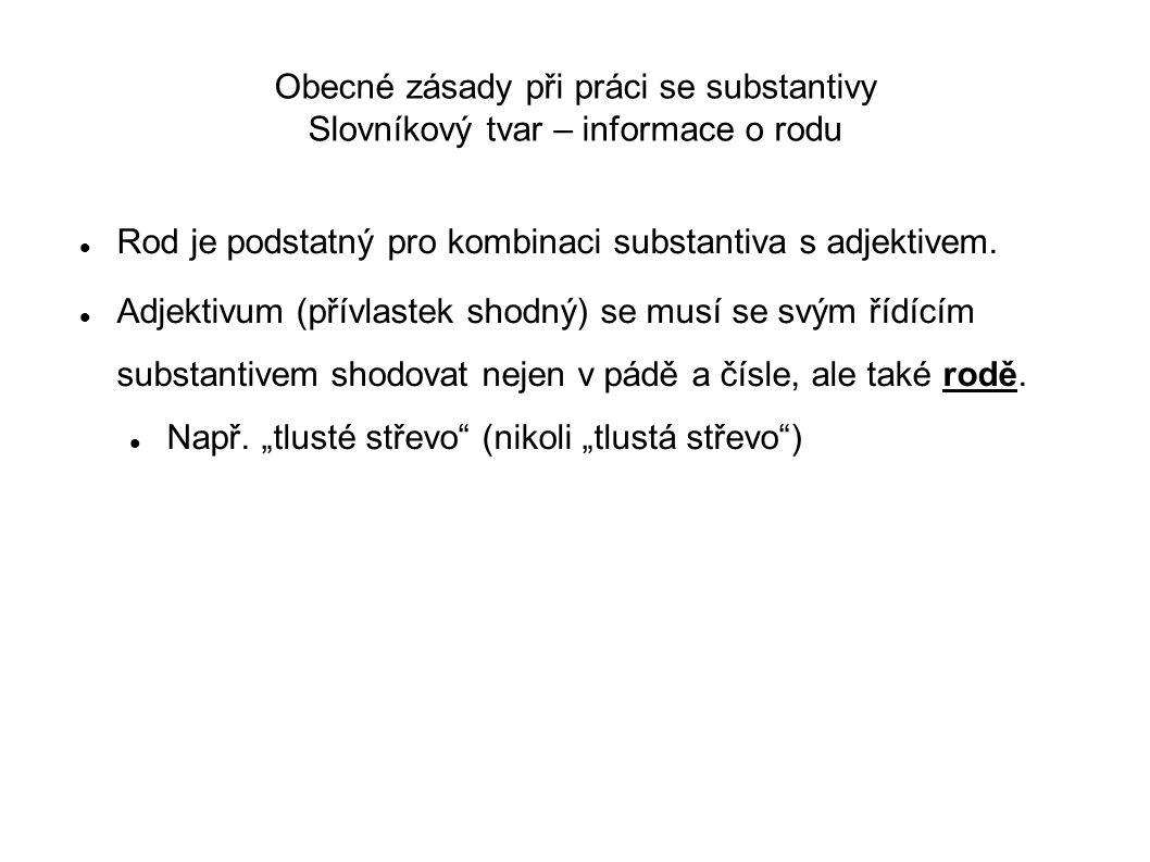 Obecné zásady při práci se substantivy Slovníkový tvar – informace o rodu