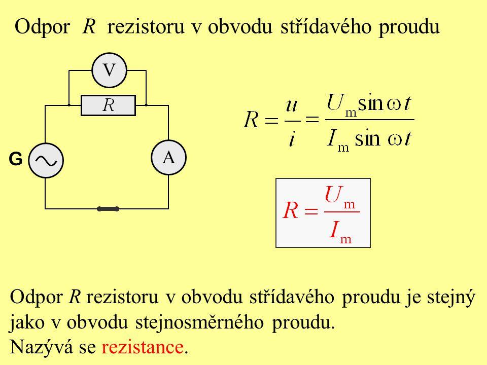 Odpor R rezistoru v obvodu střídavého proudu