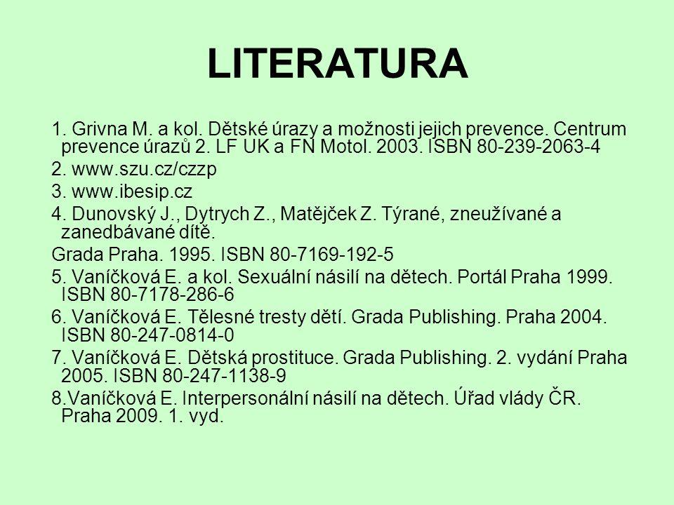 LITERATURA 1. Grivna M. a kol. Dětské úrazy a možnosti jejich prevence. Centrum prevence úrazů 2. LF UK a FN Motol. 2003. ISBN 80-239-2063-4.