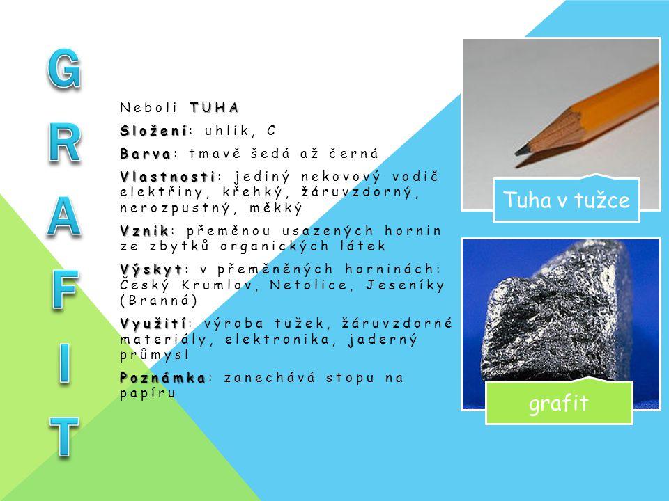 GRAFIT Tuha v tužce grafit Neboli TUHA Složení: uhlík, C