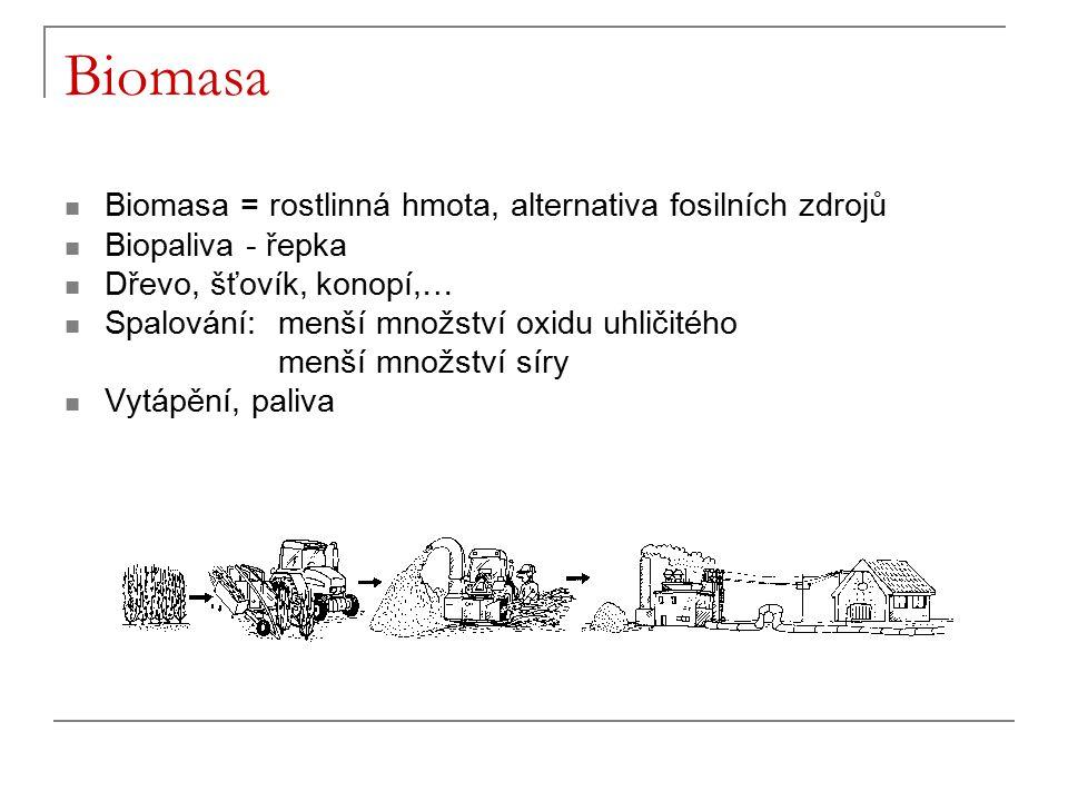 Biomasa Biomasa = rostlinná hmota, alternativa fosilních zdrojů