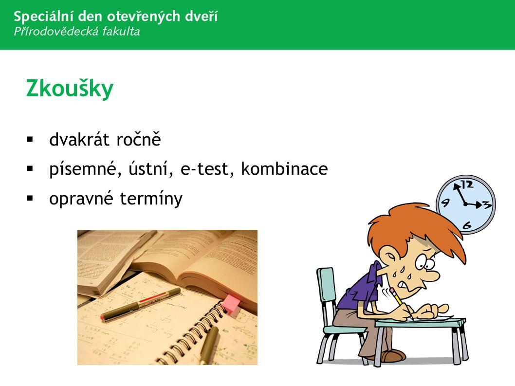 Zkoušky dvakrát ročně písemné, ústní, e-test, kombinace