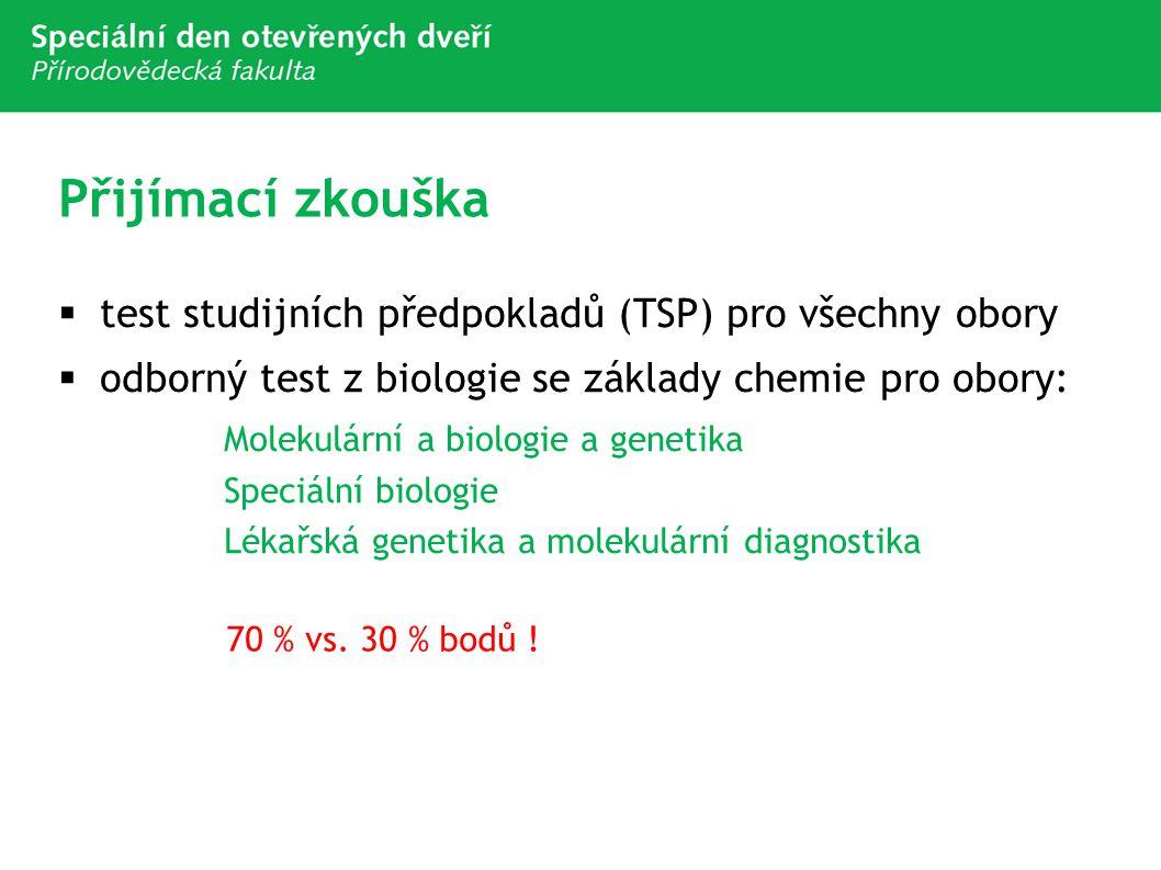 Přijímací zkouška test studijních předpokladů (TSP) pro všechny obory