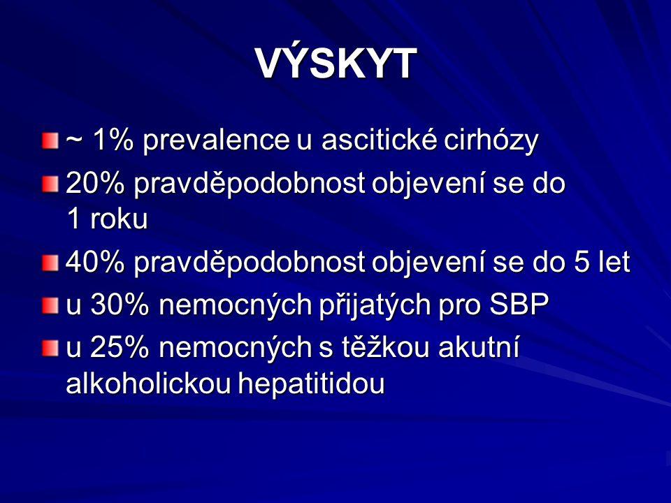 VÝSKYT ~ 1% prevalence u ascitické cirhózy