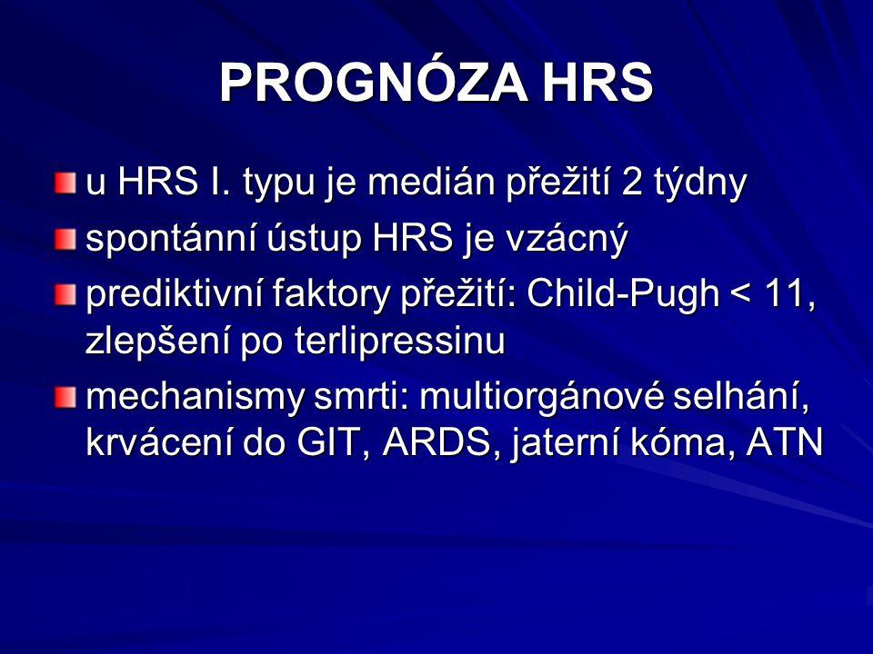 PROGNÓZA HRS u HRS I. typu je medián přežití 2 týdny