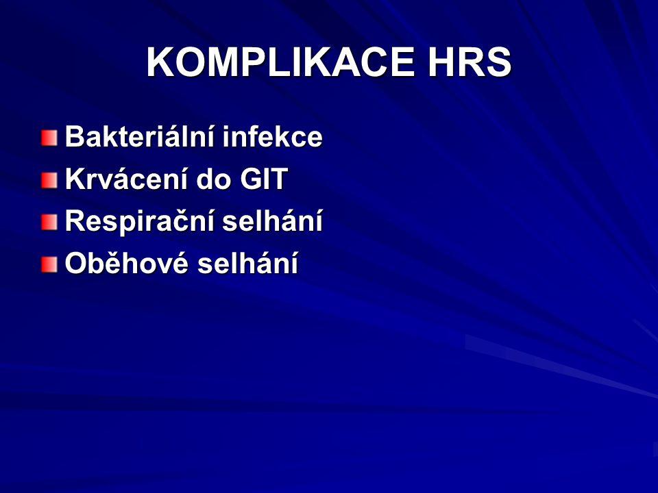 KOMPLIKACE HRS Bakteriální infekce Krvácení do GIT Respirační selhání