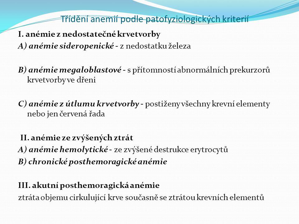 Třídění anemií podle patofyziologických kriterií