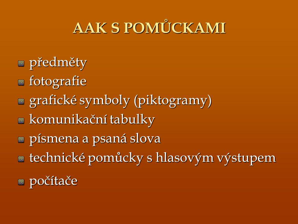 AAK S POMŮCKAMI předměty fotografie grafické symboly (piktogramy)