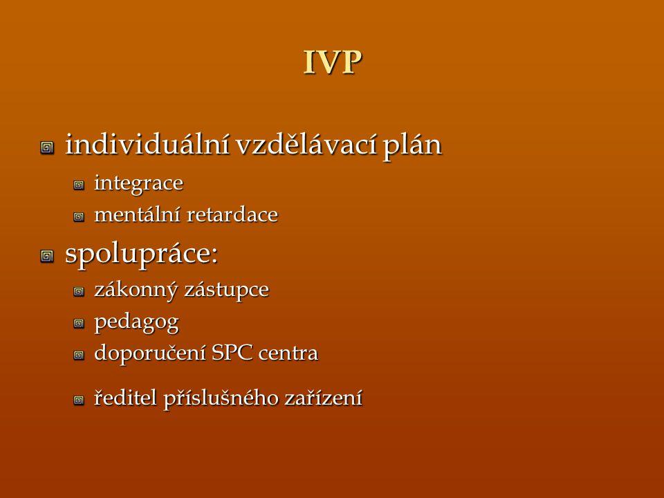 IVP individuální vzdělávací plán spolupráce: integrace