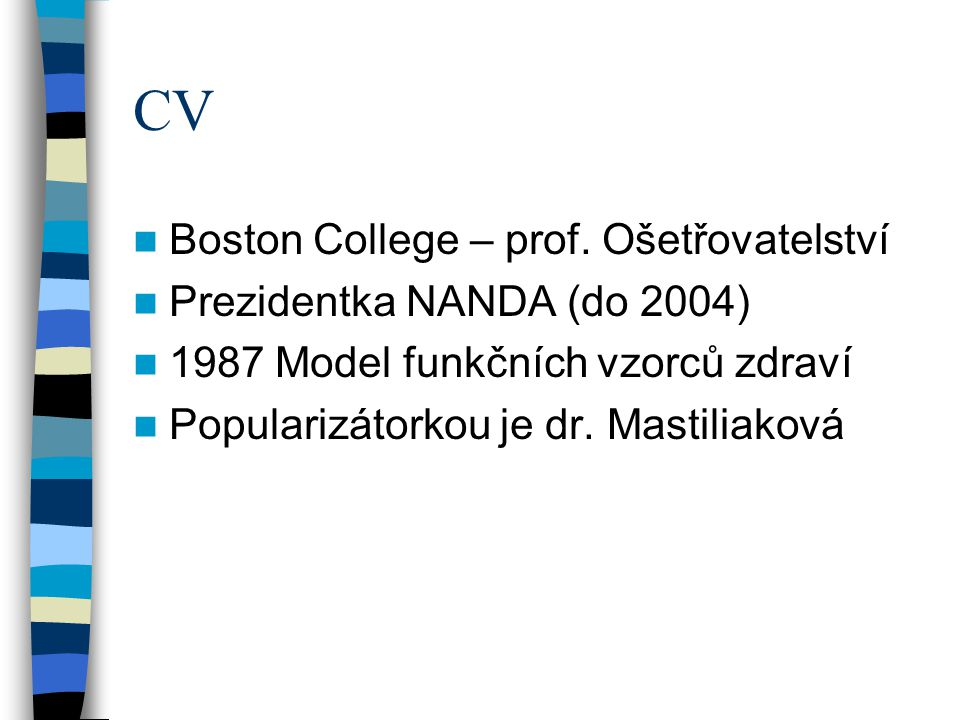 CV Boston College – prof. Ošetřovatelství Prezidentka NANDA (do 2004)