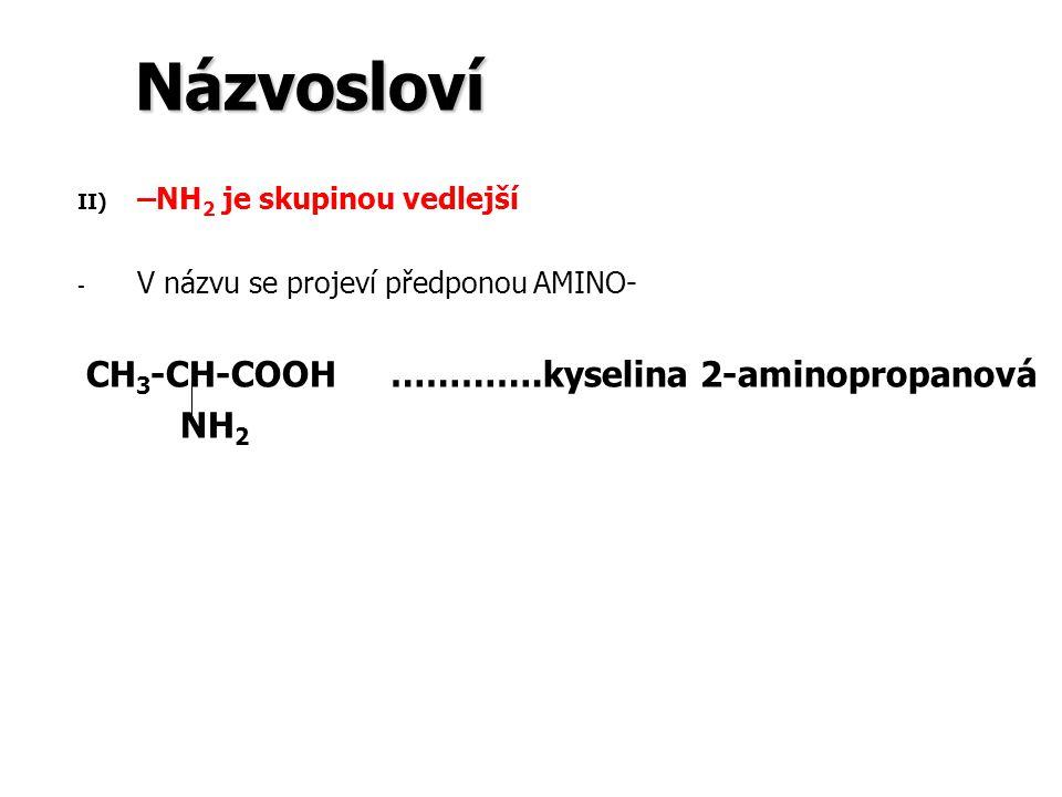 Názvosloví NH2 –NH2 je skupinou vedlejší