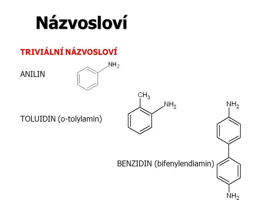 Názvosloví TRIVIÁLNÍ NÁZVOSLOVÍ ANILIN TOLUIDIN (o-tolylamin)