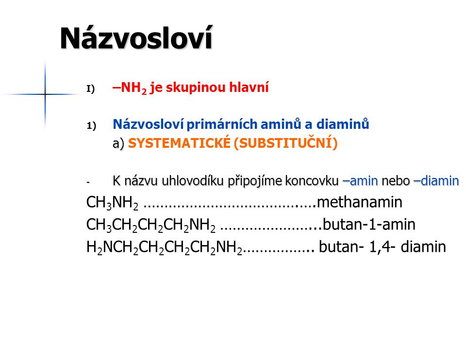 Názvosloví CH3NH2 ……………………………….….methanamin