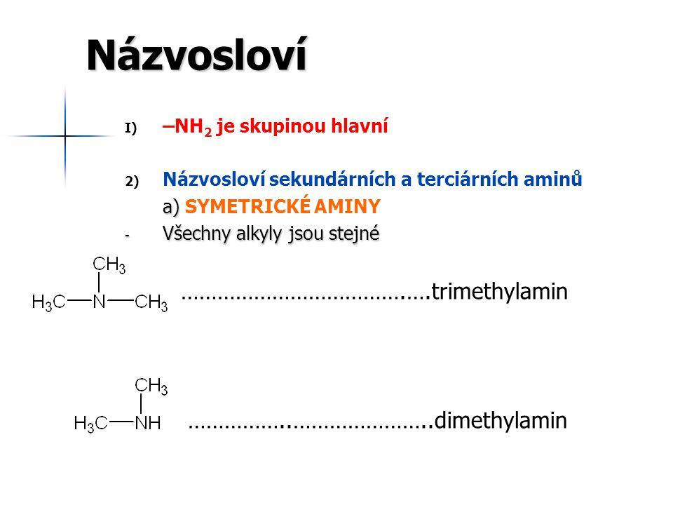 Názvosloví ……………………………….….trimethylamin ……………..…………………..dimethylamin