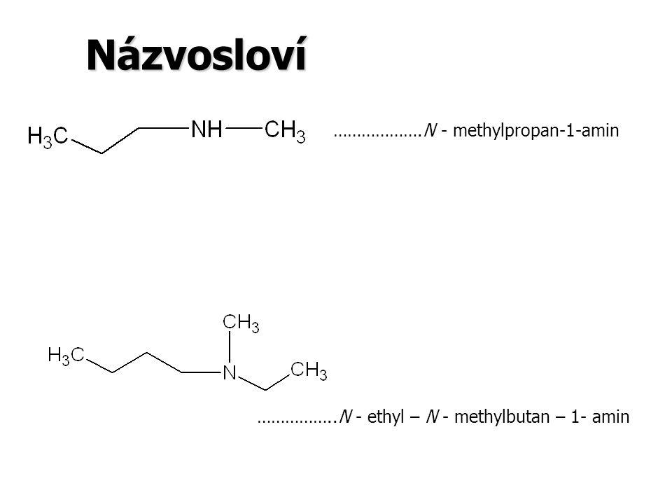 Názvosloví ……………….N - methylpropan-1-amin