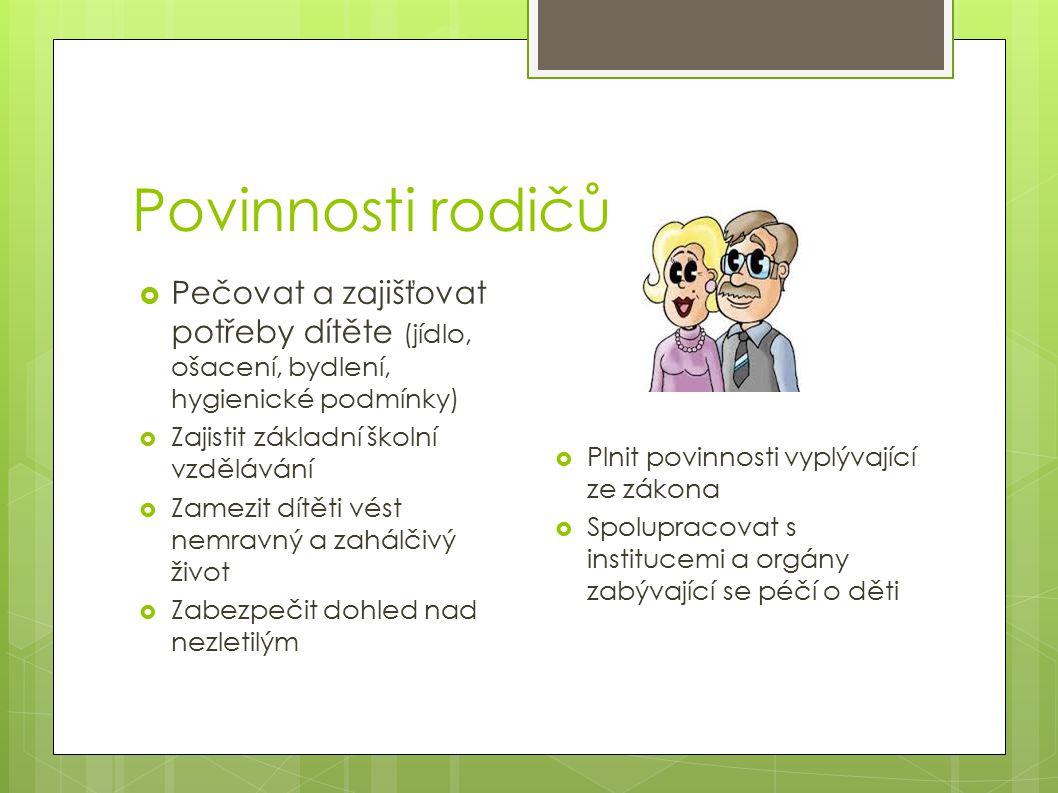 Povinnosti rodičů Pečovat a zajišťovat potřeby dítěte (jídlo, ošacení, bydlení, hygienické podmínky)