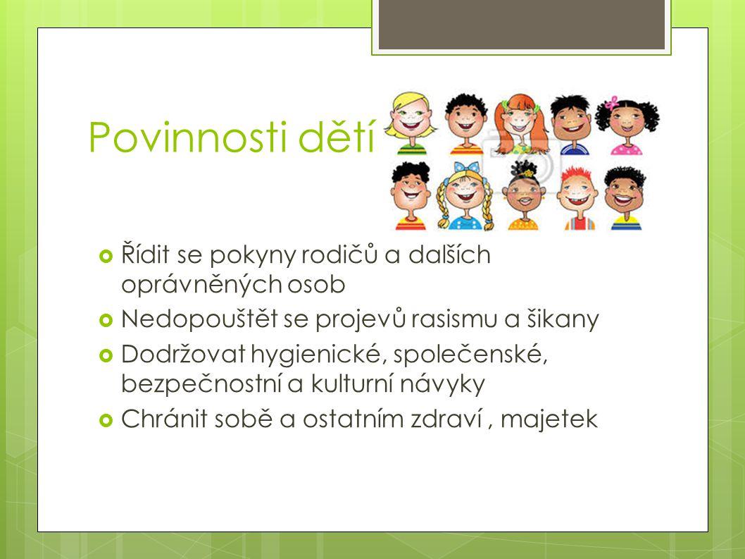 Povinnosti dětí Řídit se pokyny rodičů a dalších oprávněných osob