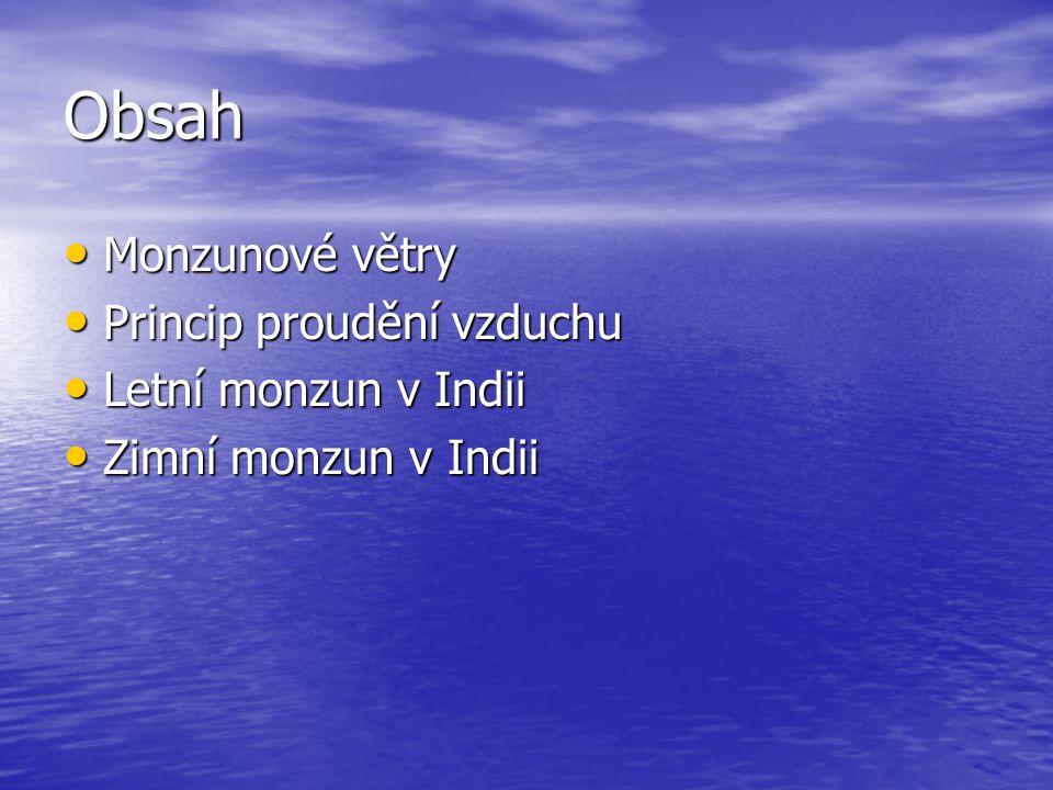 Obsah Monzunové větry Princip proudění vzduchu Letní monzun v Indii