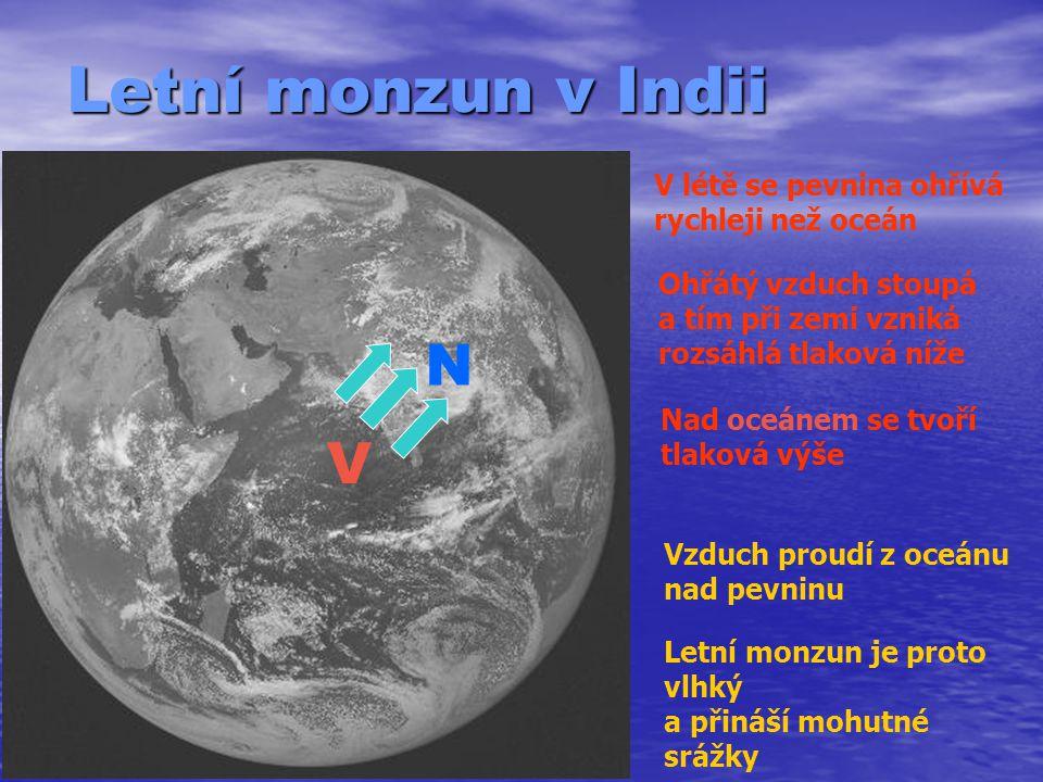 Letní monzun v Indii N V V létě se pevnina ohřívá rychleji než oceán