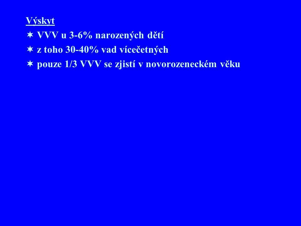 Výskyt VVV u 3-6% narozených dětí. z toho 30-40% vad vícečetných.