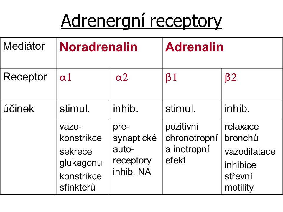 Adrenergní receptory Noradrenalin Adrenalin Mediátor Receptor a1 a2 b1