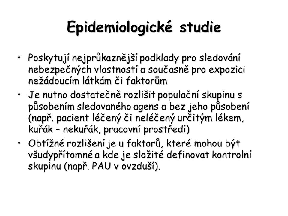 Epidemiologické studie