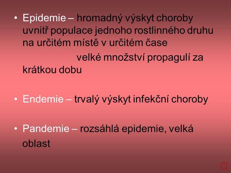 Epidemie – hromadný výskyt choroby uvnitř populace jednoho rostlinného druhu na určitém místě v určitém čase