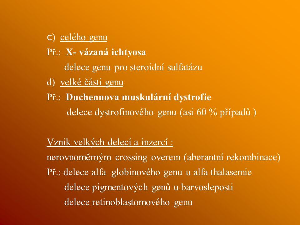 c) celého genu Př.: X- vázaná ichtyosa. delece genu pro steroidní sulfatázu. d) velké části genu.