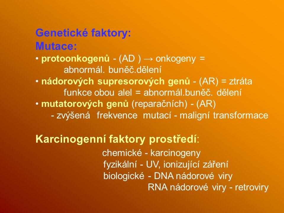 Karcinogenní faktory prostředí: chemické - karcinogeny