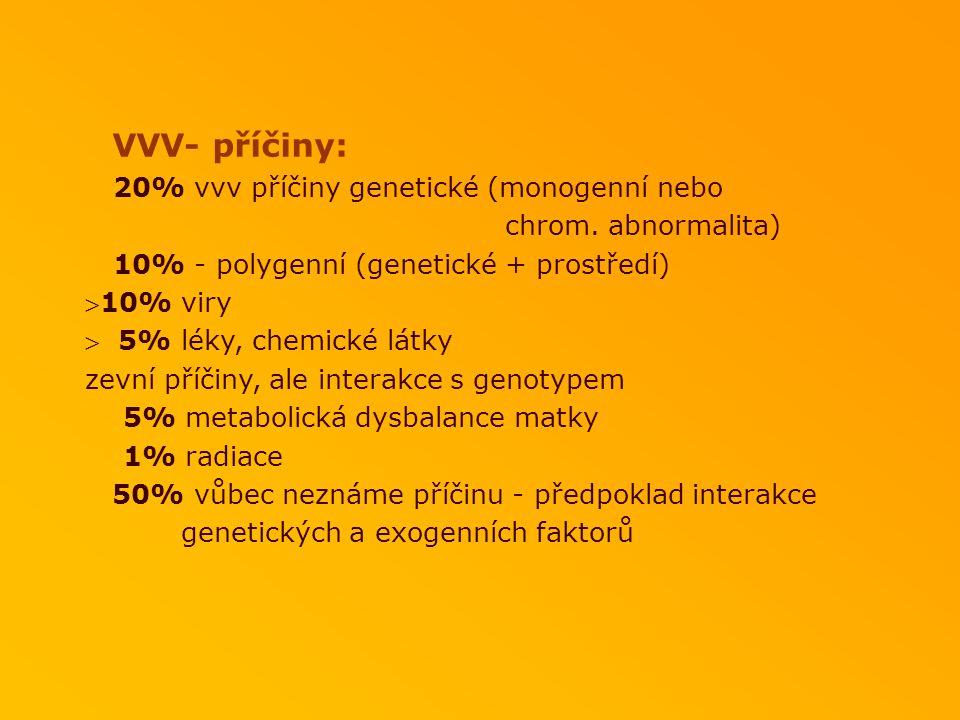 VVV- příčiny: 20% vvv příčiny genetické (monogenní nebo. chrom. abnormalita) 10% - polygenní (genetické + prostředí)