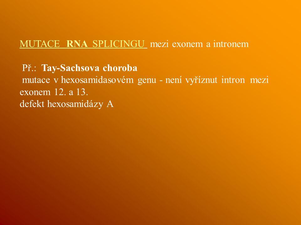 MUTACE RNA SPLICINGU mezi exonem a intronem
