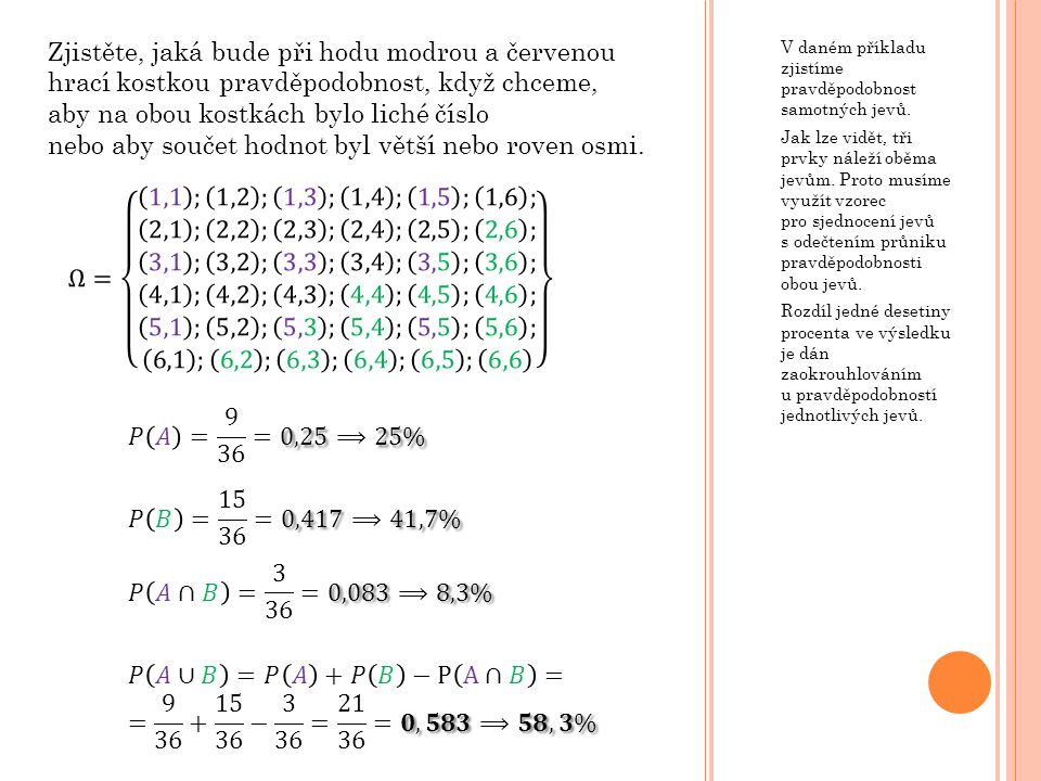𝑃 𝐴∪𝐵 =𝑃 𝐴 +𝑃 𝐵 −P A∩𝐵 = = 9 36 + 15 36 − 3 36 = 21 36 =𝟎,𝟓𝟖𝟑⟹𝟓𝟖,𝟑%