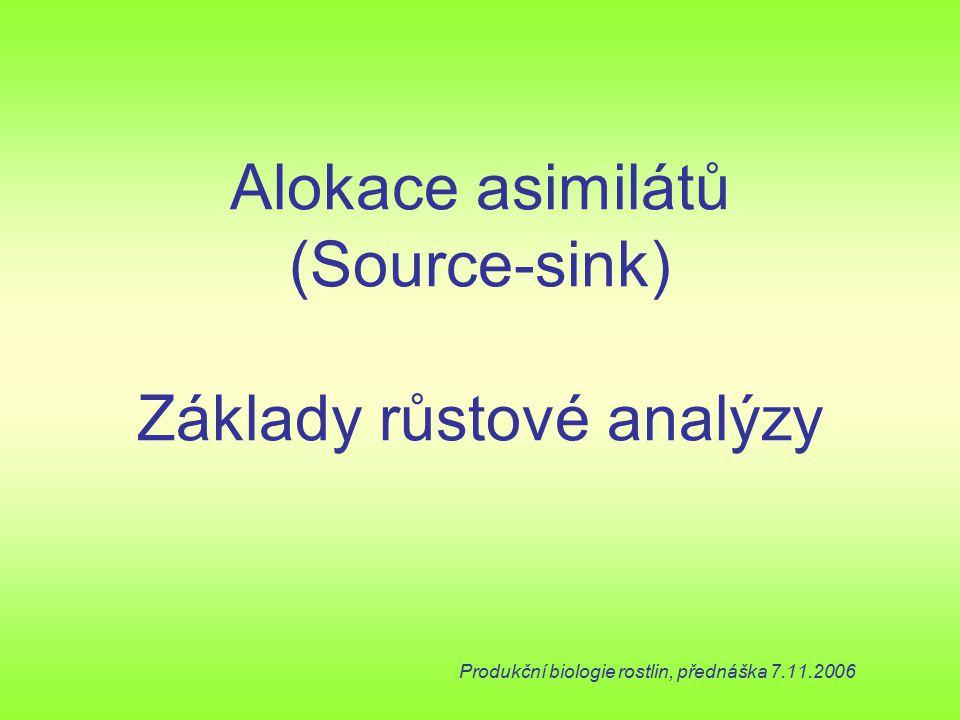 Alokace asimilátů (Source-sink) Základy růstové analýzy